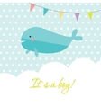 Baby boy shower card with cute whale and flags vector