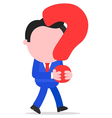 Businessman walking and holding question mark vector