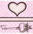 Vintage valentine card with antique key vector