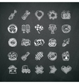 Icons set of car symbols on blackboard vector