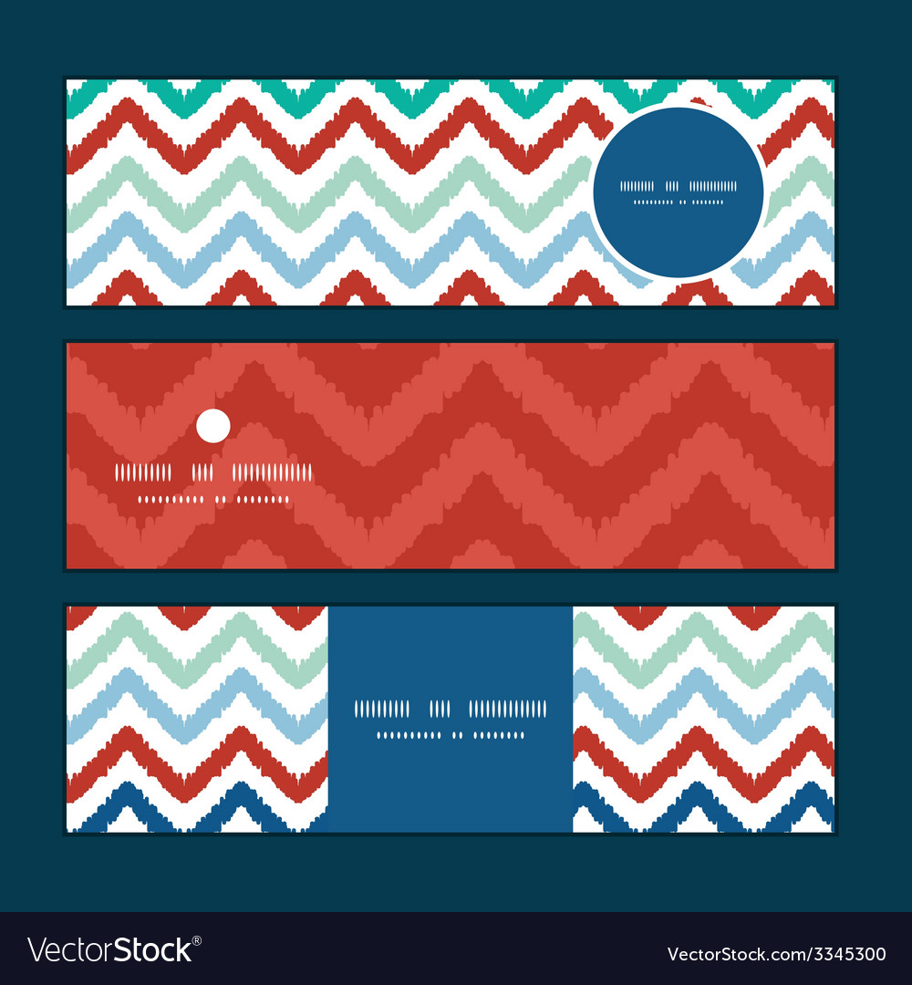 Colorful ikat chevron horizontal banners set vector   Price: 1 Credit (USD $1)