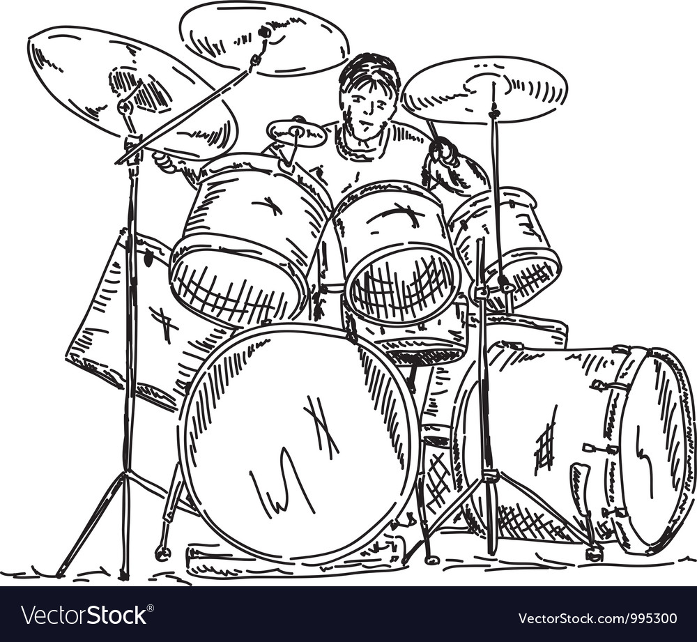Drummer playing vector | Price: 1 Credit (USD $1)