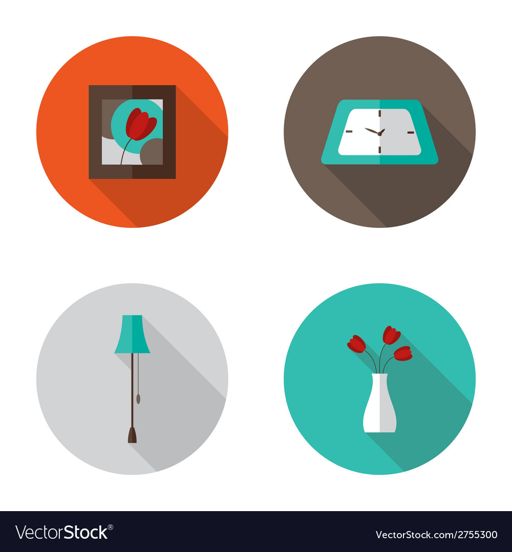 Flat decor furniture icons set vector | Price: 1 Credit (USD $1)