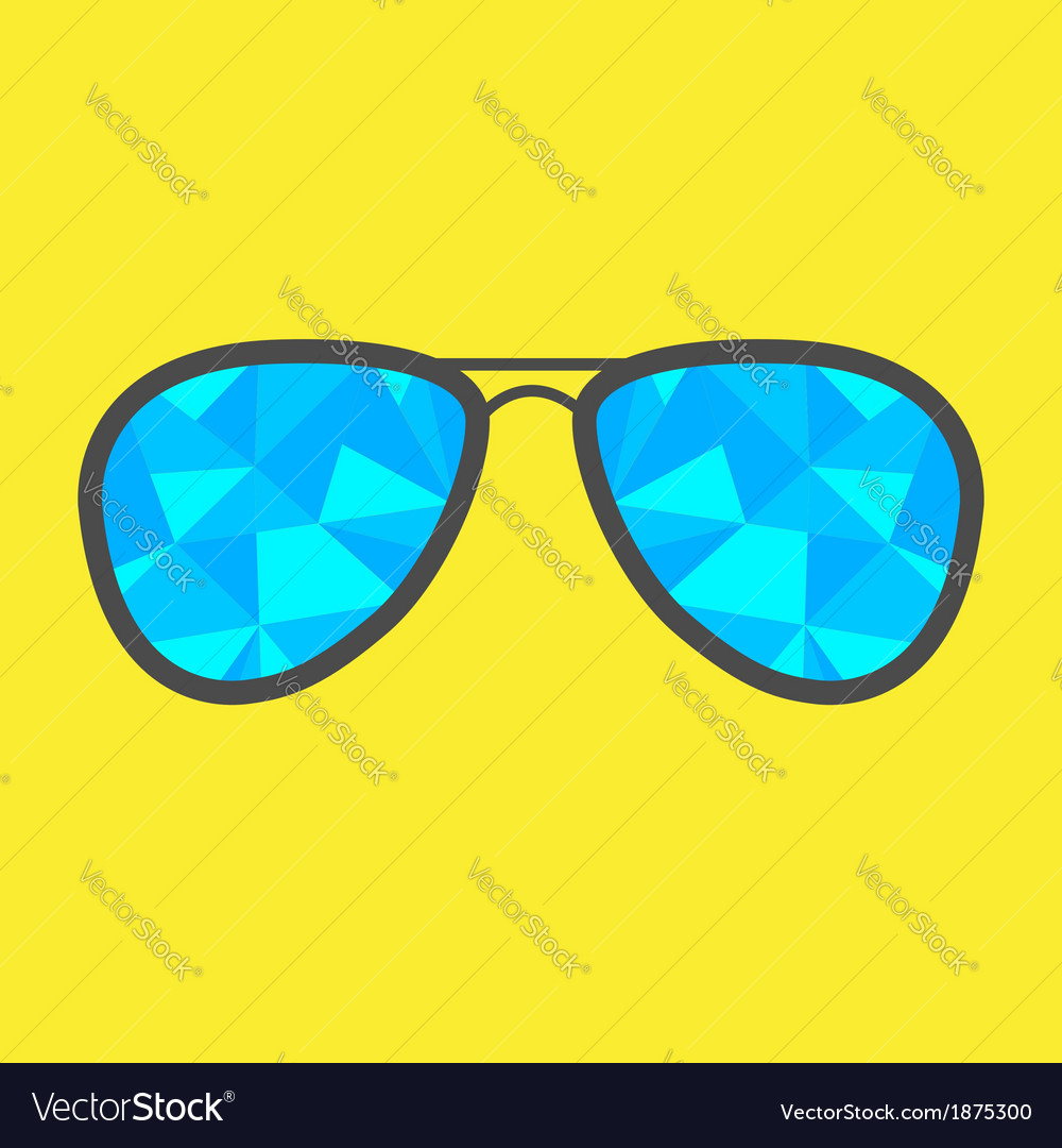 Glasses with blue abstract triangles polygonal vector | Price: 1 Credit (USD $1)