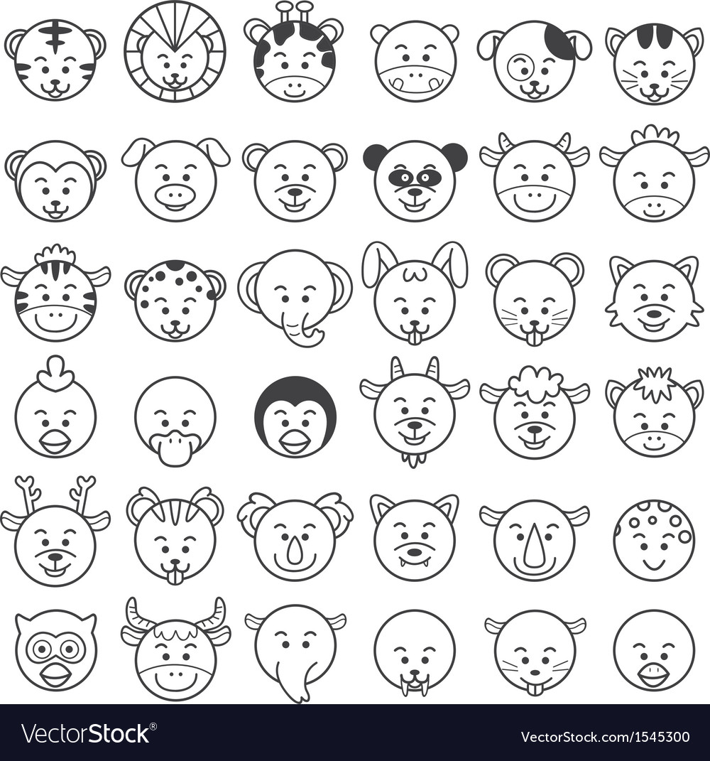 Icon of animal faces vector | Price: 1 Credit (USD $1)