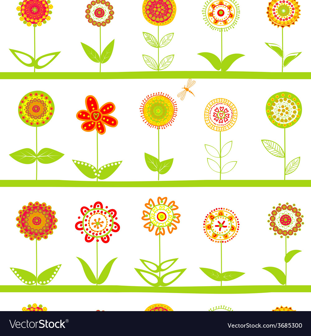 Rows of flowers seamless pattern vector   Price: 1 Credit (USD $1)