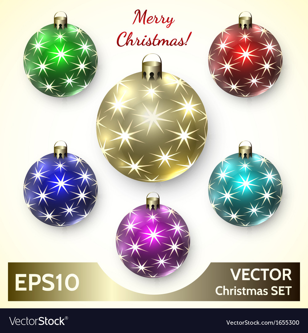 Set of christmas decoration balls vector | Price: 1 Credit (USD $1)