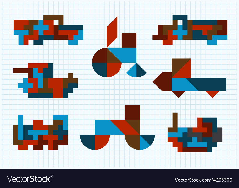 Tangram ground transportation on a white backgroun vector | Price: 1 Credit (USD $1)