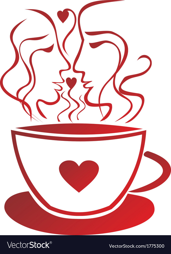 Tea coffee cup valentines day pair vector | Price: 1 Credit (USD $1)