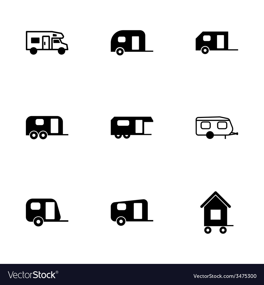 Trailer icon set vector | Price: 1 Credit (USD $1)