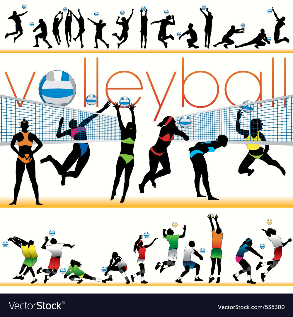Volleyball players set vector | Price: 1 Credit (USD $1)