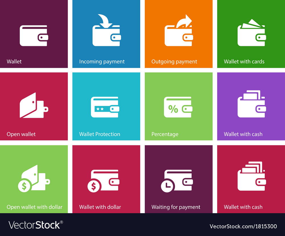 Wallet and translation icons on color background vector | Price: 1 Credit (USD $1)