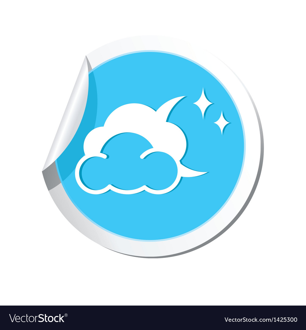 Weather forecast clouds with moon and stars icon vector | Price: 1 Credit (USD $1)