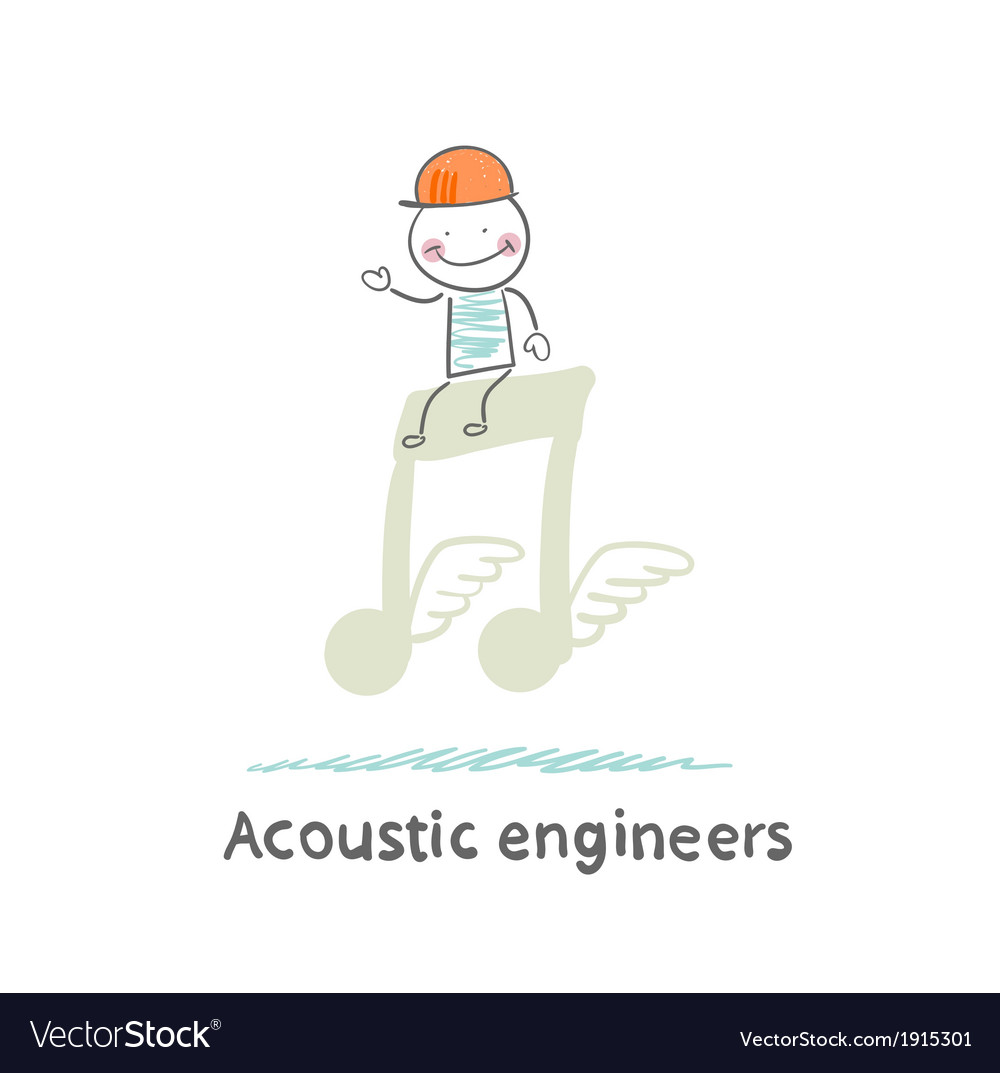 Acoustic engineer standing on a big note vector | Price: 1 Credit (USD $1)