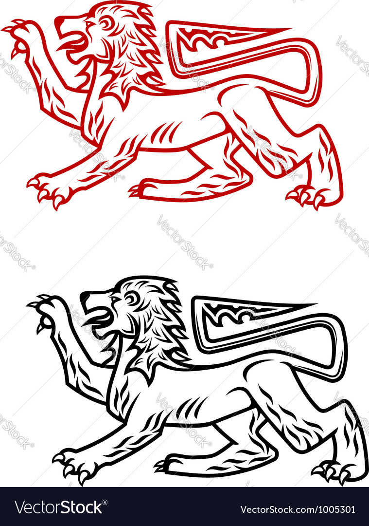 Ancient heraldic lion silhouette vector | Price: 1 Credit (USD $1)