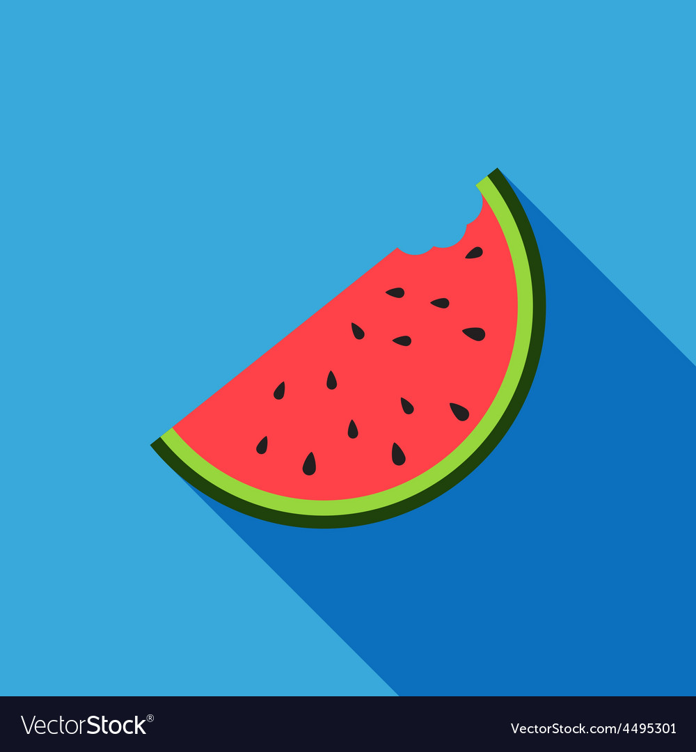Big watermelon slice cut with seed flat design vector | Price: 1 Credit (USD $1)