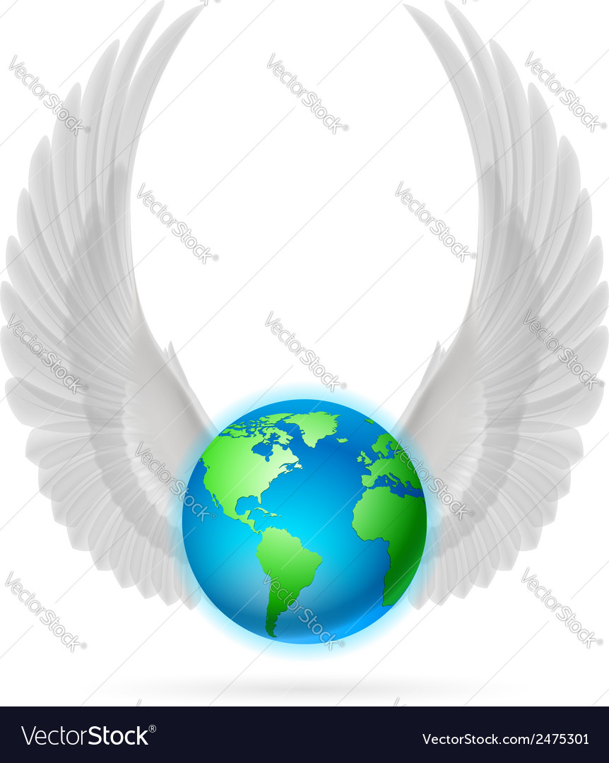 Globe with white wings on white vector | Price: 1 Credit (USD $1)