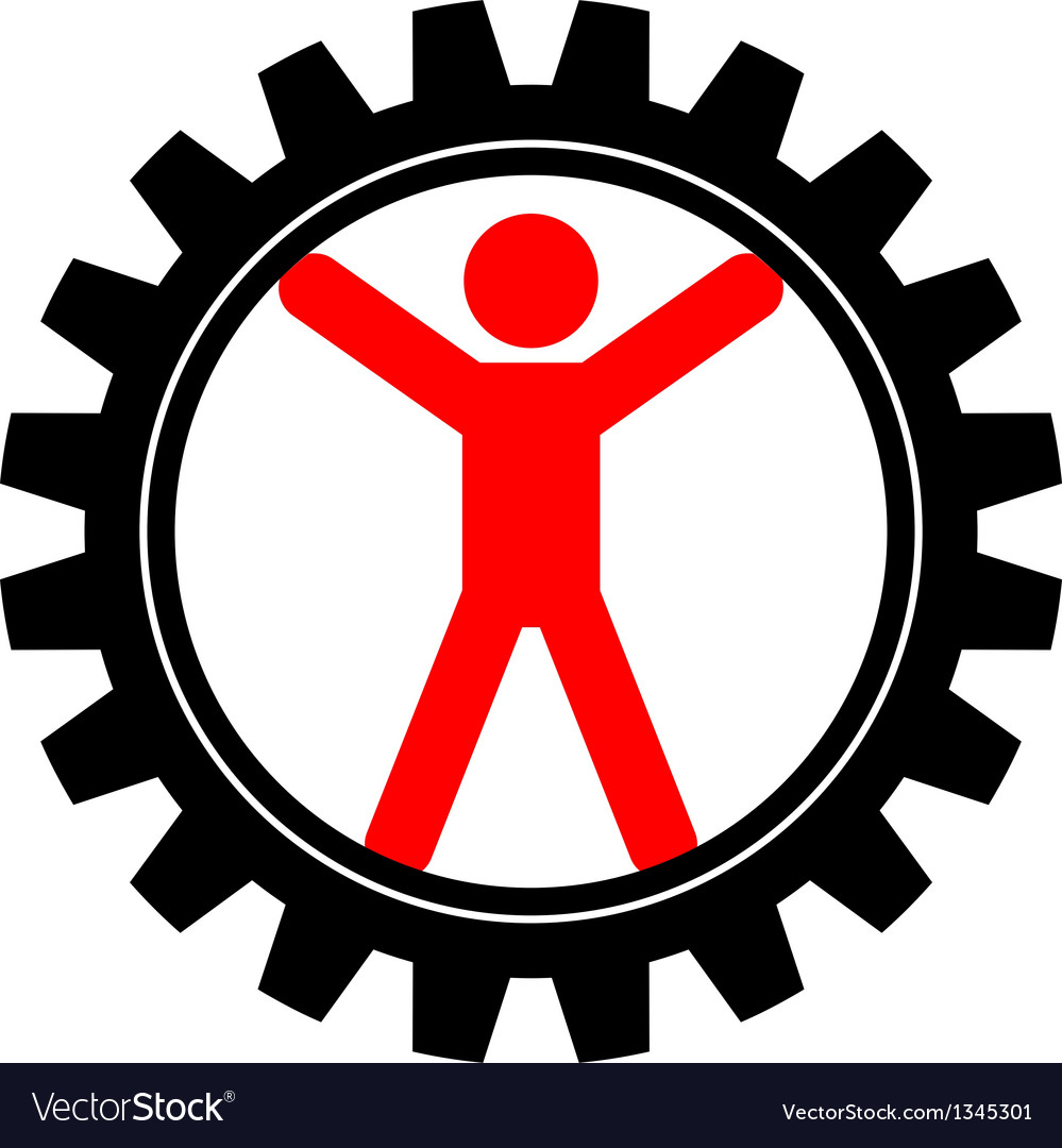 Icon of man in cog-wheel vector | Price: 1 Credit (USD $1)