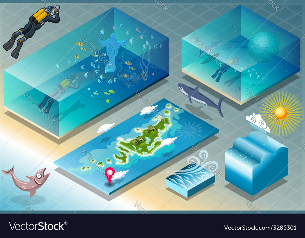 Isometric tile of carribean diving holidays vector | Price: 3 Credit (USD $3)