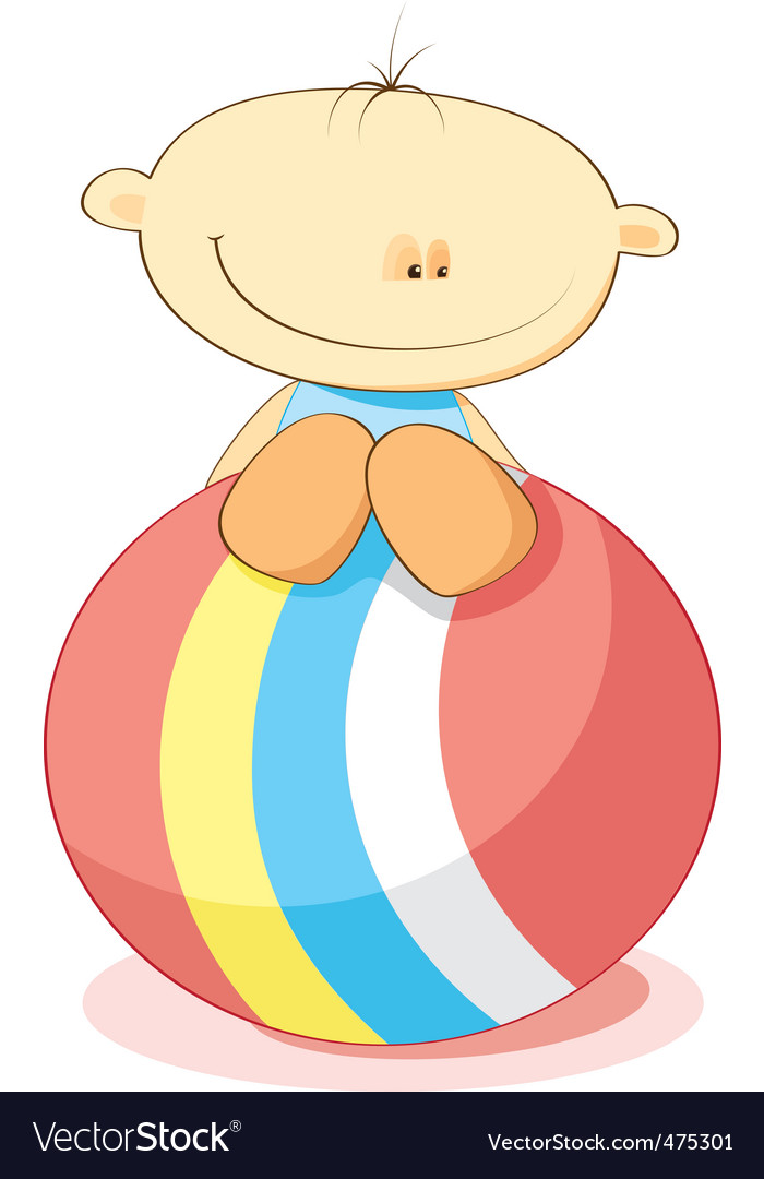 Little boy and ball vector | Price: 1 Credit (USD $1)