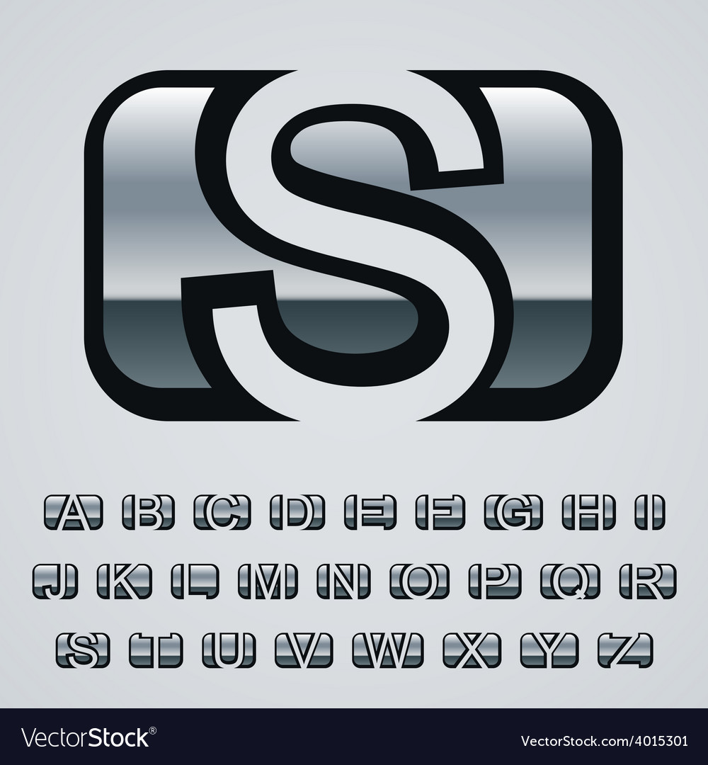 Rounded square chrome font alphabet vector | Price: 1 Credit (USD $1)