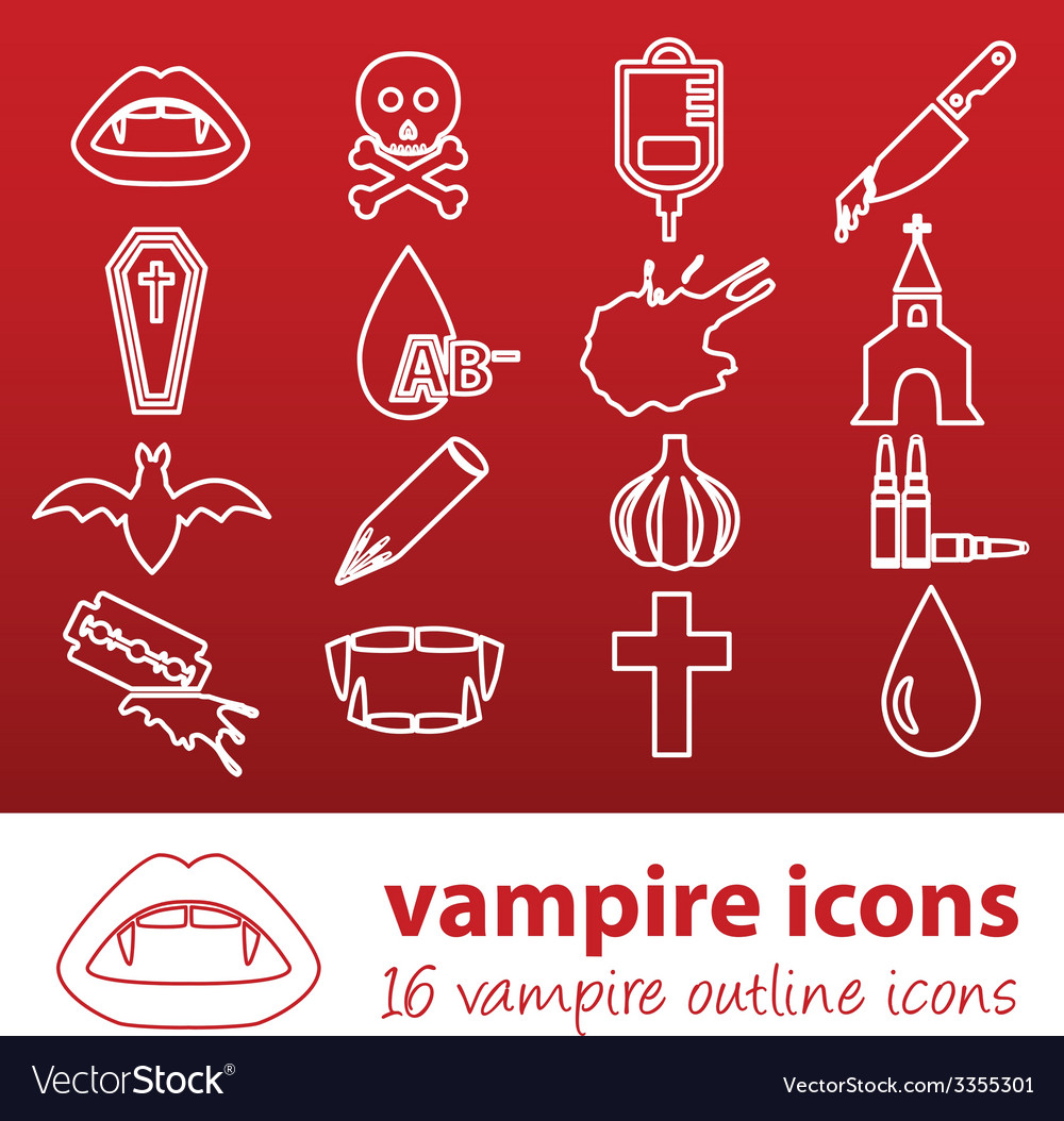 Vampire outline icons vector | Price: 1 Credit (USD $1)