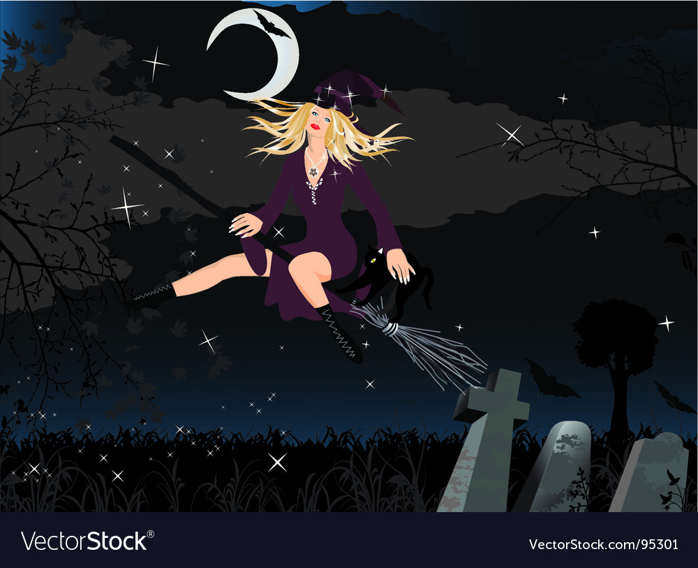 Witch and cat vector | Price: 3 Credit (USD $3)