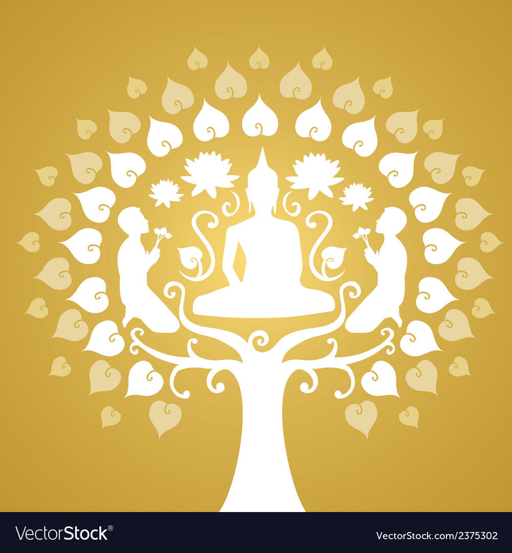 Buddha and bothi tree vector | Price: 1 Credit (USD $1)