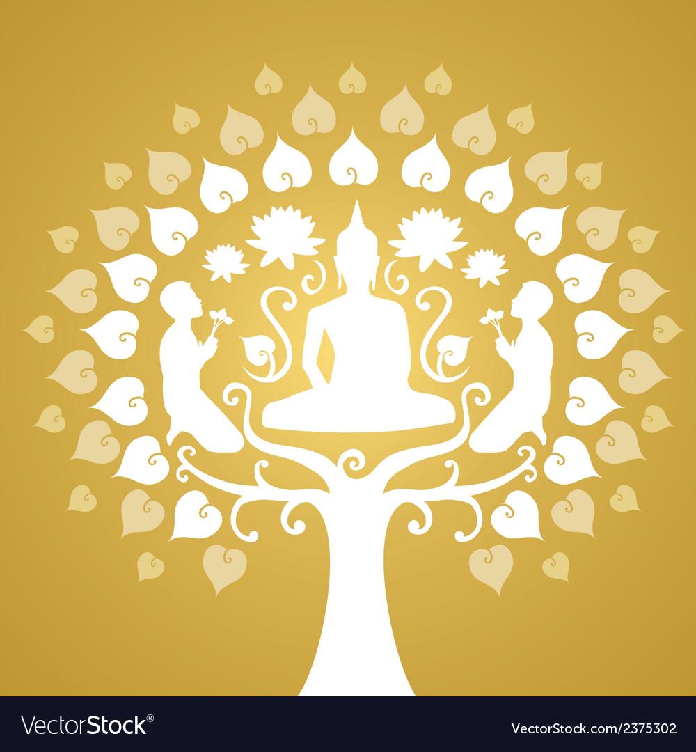 Buddha and bothi tree vector | Price: 1 Credit (USD $1)