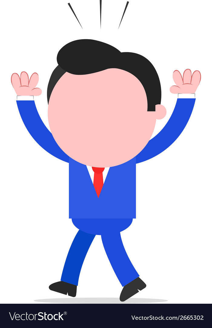 Businessman walking and raising hands vector | Price: 1 Credit (USD $1)