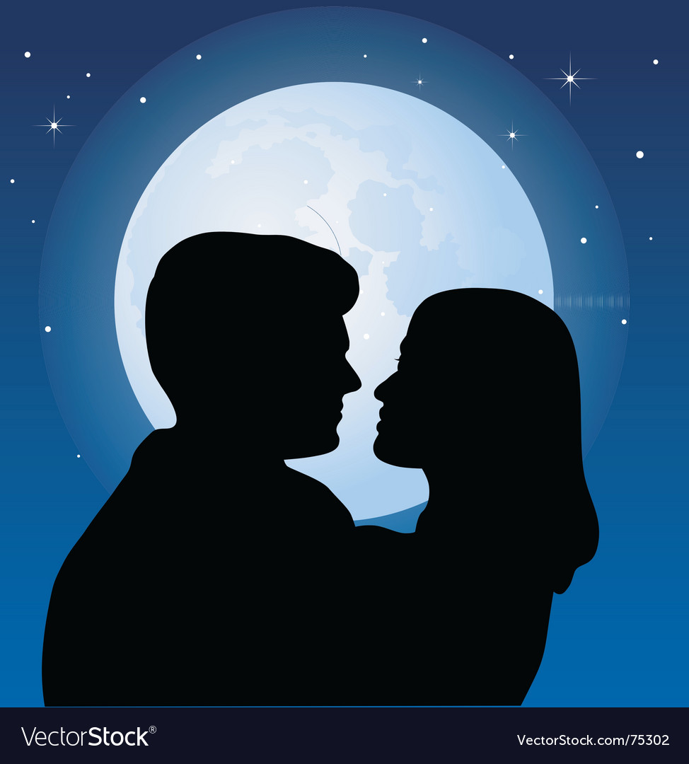 Couple and the moon vector | Price: 1 Credit (USD $1)