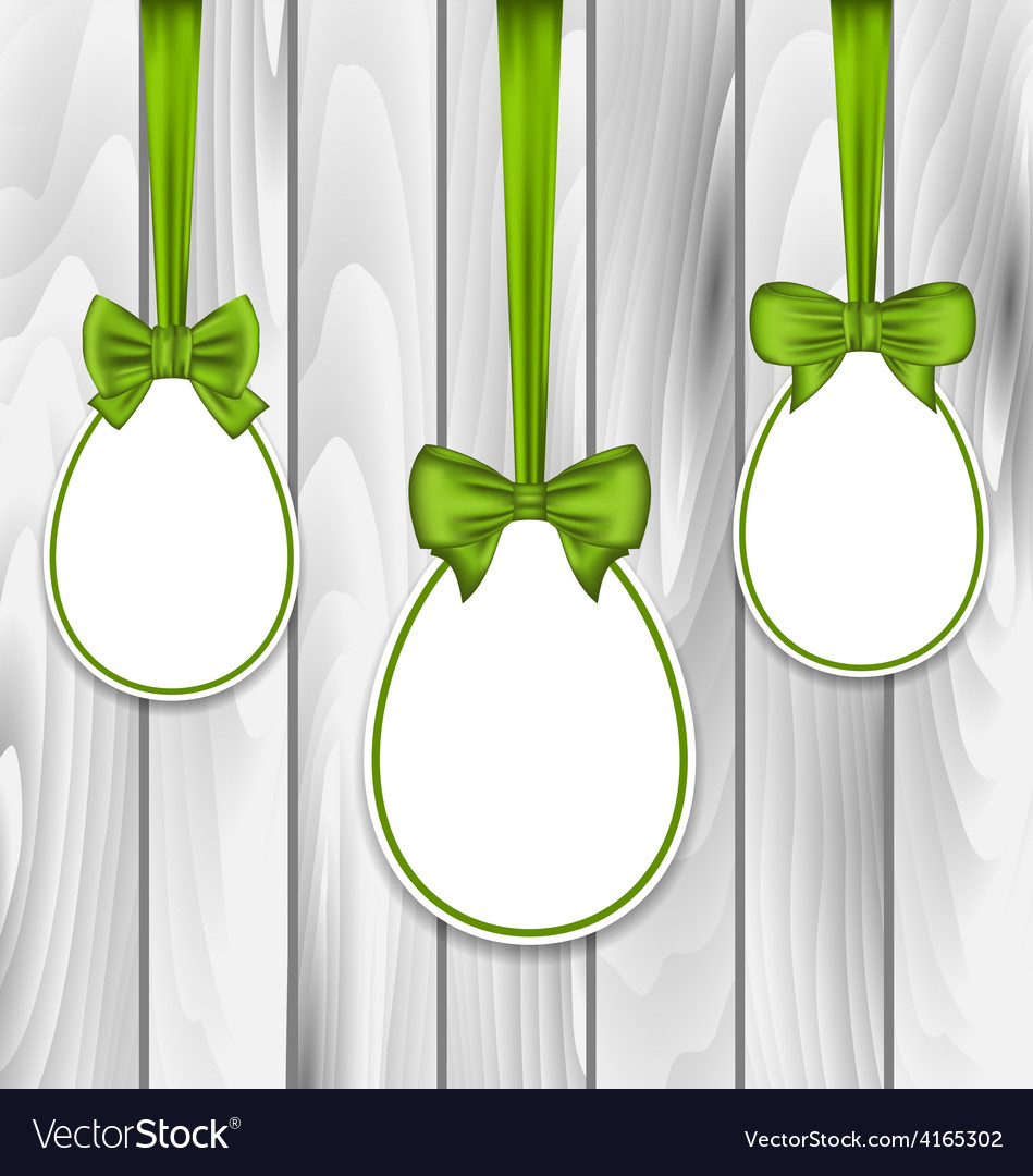 Easter three papers eggs wrapping green bows on vector | Price: 1 Credit (USD $1)