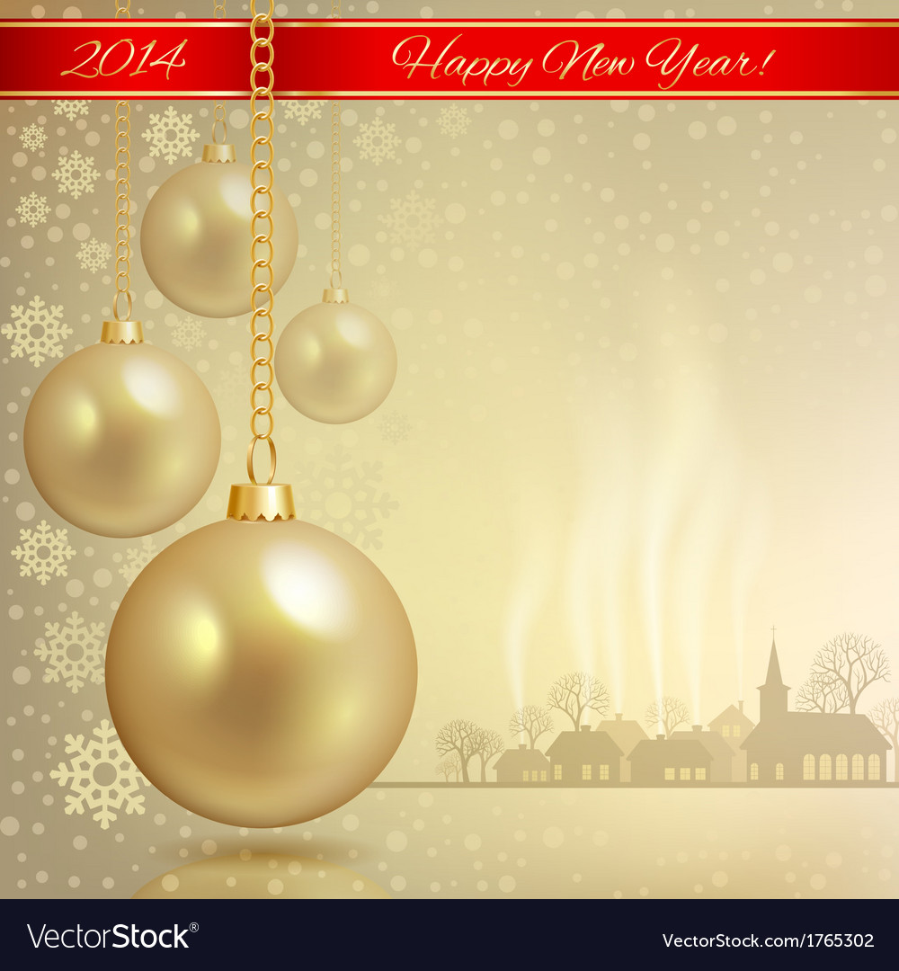 Golden ball with red ribbon vector | Price: 1 Credit (USD $1)