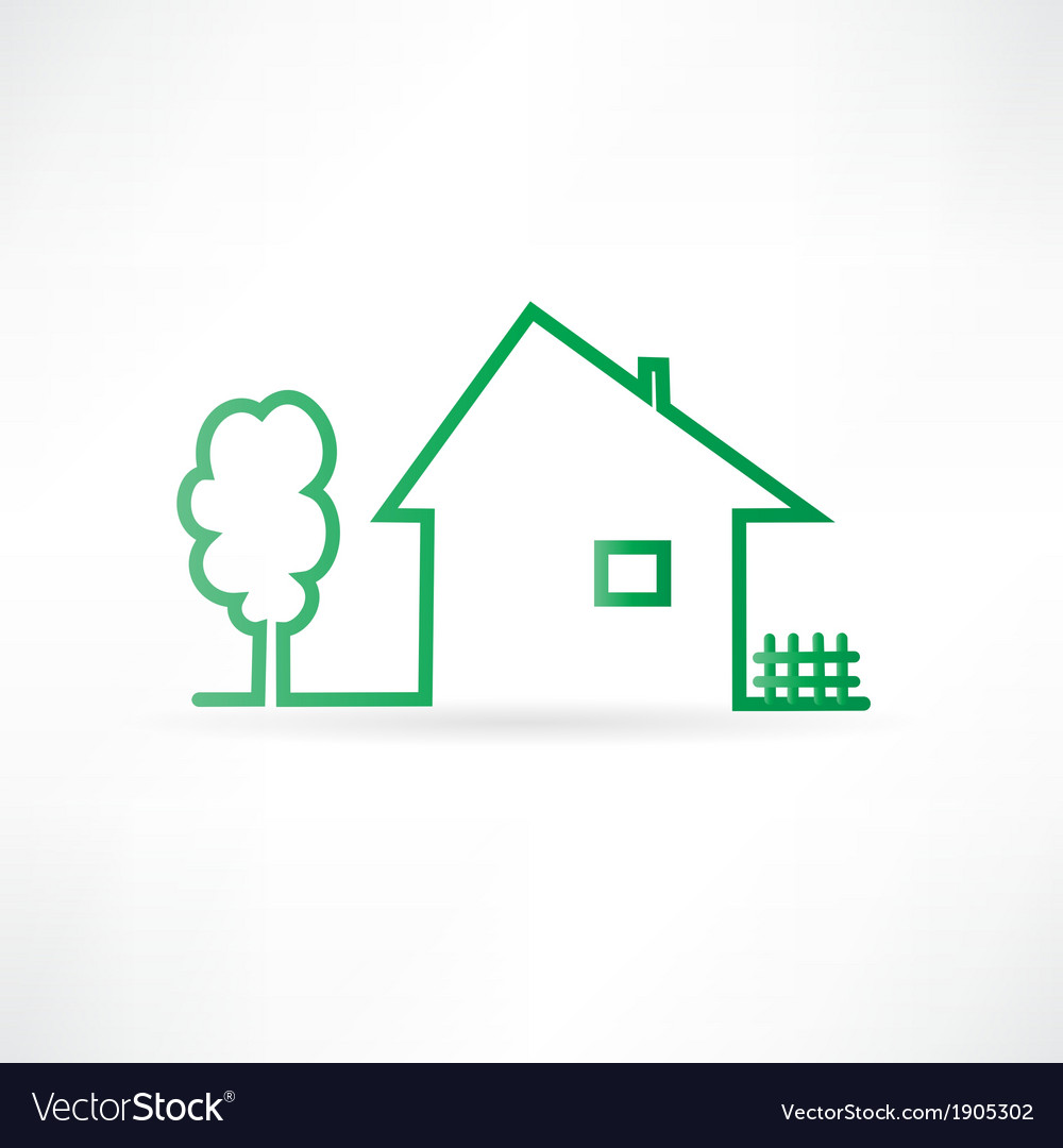 House with a fence and a tree vector | Price: 1 Credit (USD $1)