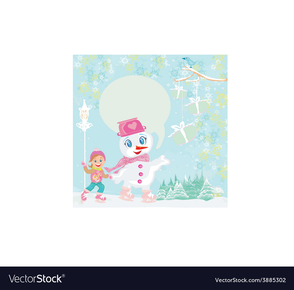 Ice skating in the winter day vector | Price: 1 Credit (USD $1)