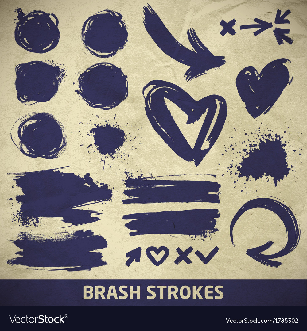 Ink brushstroke elements on paper background vector   Price: 1 Credit (USD $1)