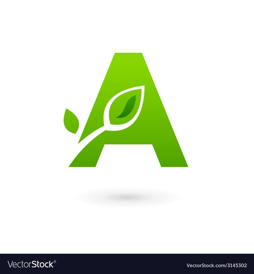 Letter a eco leaves logo icon design template vector | Price: 1 Credit (USD $1)