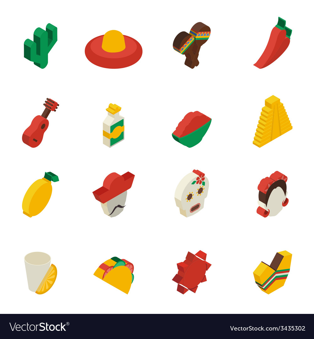 Mexican icons isometric vector | Price: 1 Credit (USD $1)