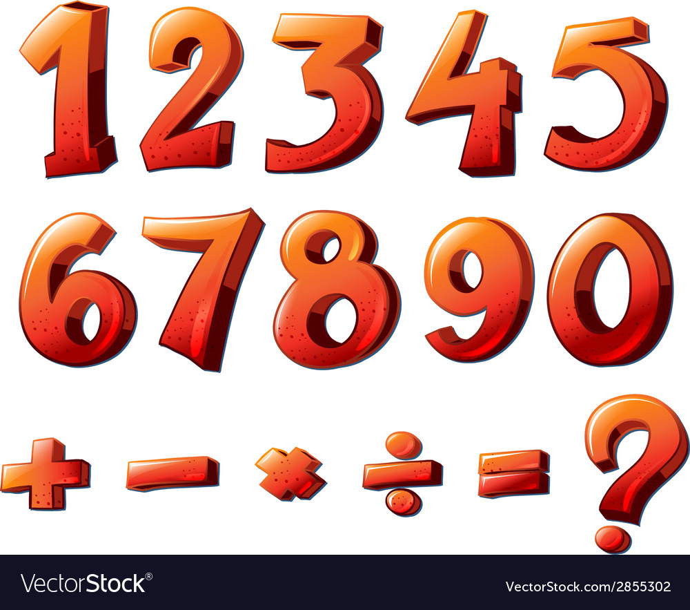 Numbers and mathematical symbols vector | Price: 1 Credit (USD $1)