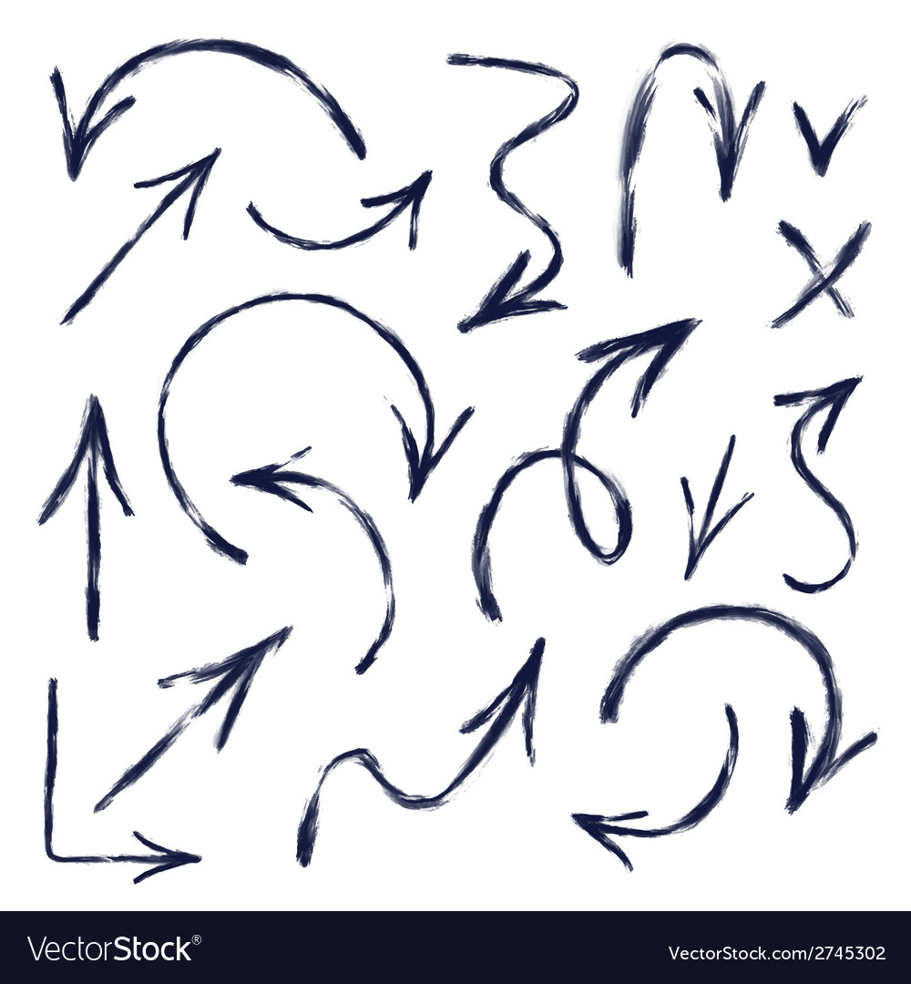 Set of hand drawn arrows vector | Price: 1 Credit (USD $1)