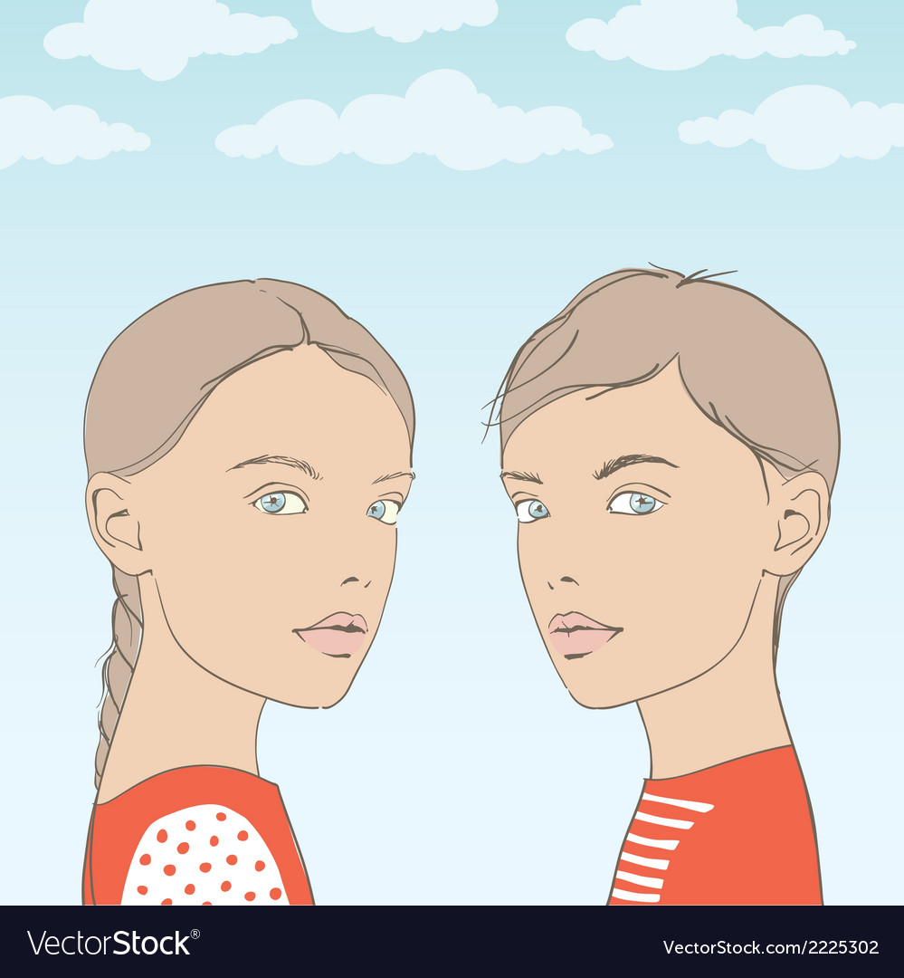 Twins brother and sister vector | Price: 1 Credit (USD $1)