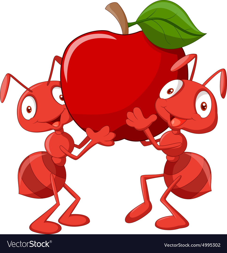 Two ants holding red apple vector