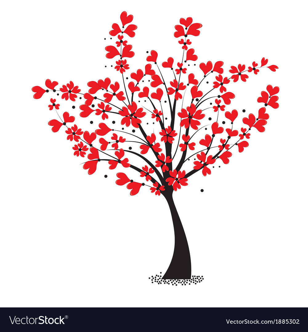 Valentine tree flower shaped of heart vector | Price: 1 Credit (USD $1)