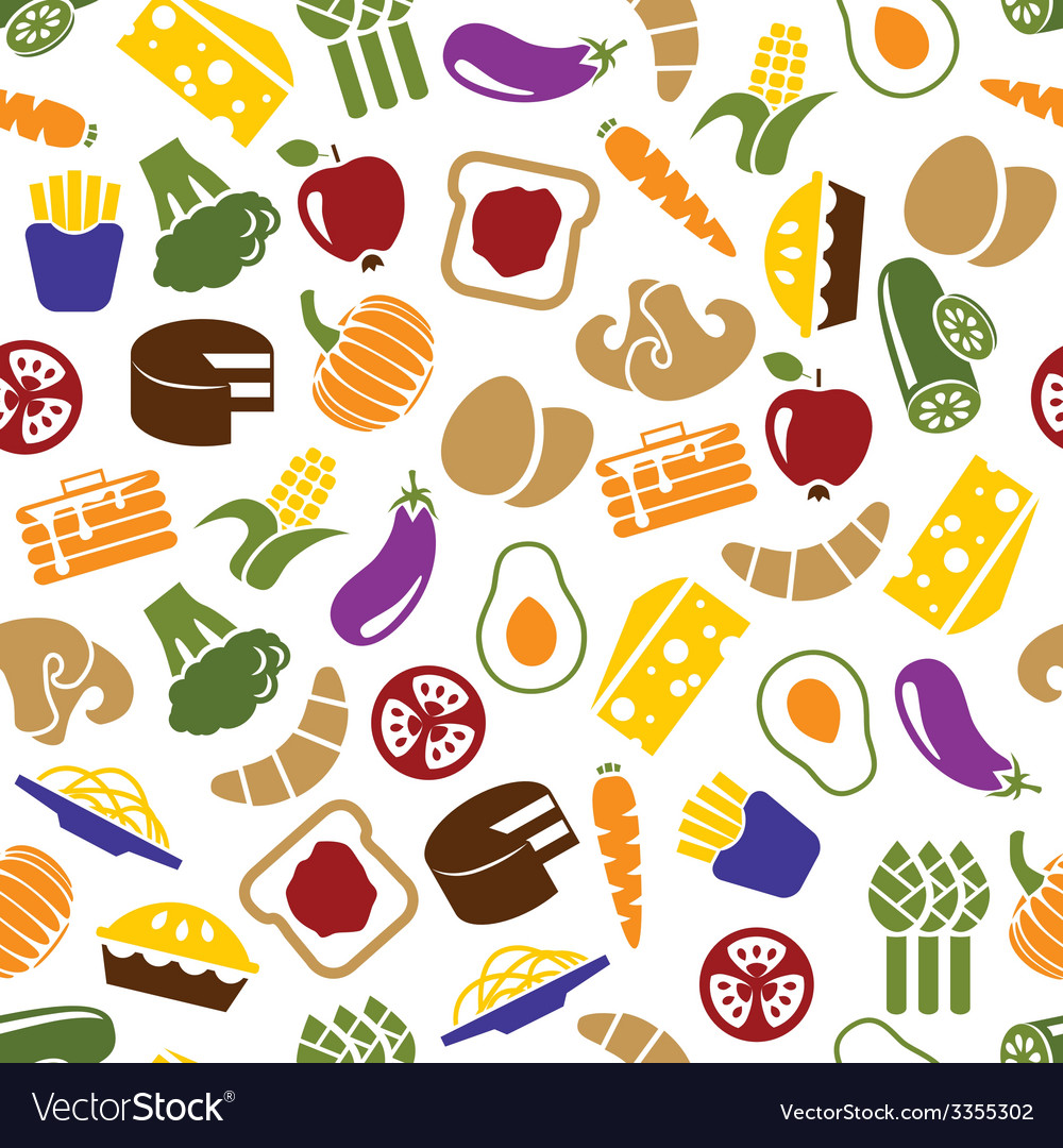 Vegetarian meals seamless pattern vector | Price: 1 Credit (USD $1)