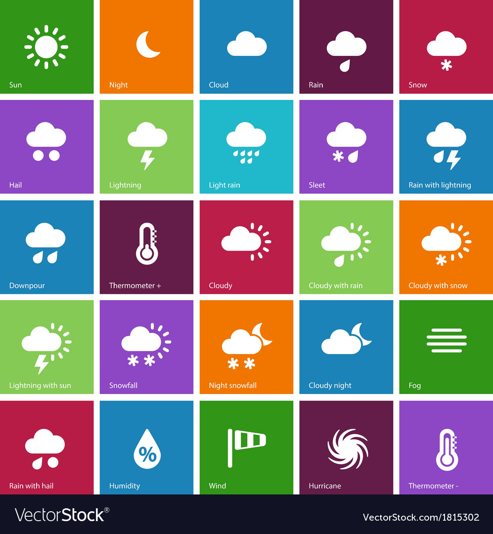 Weather icons on color background vector | Price: 1 Credit (USD $1)
