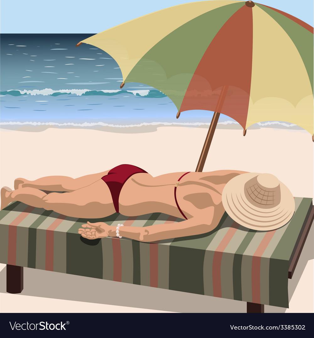 Woman sunbathes on the beach vector | Price: 3 Credit (USD $3)