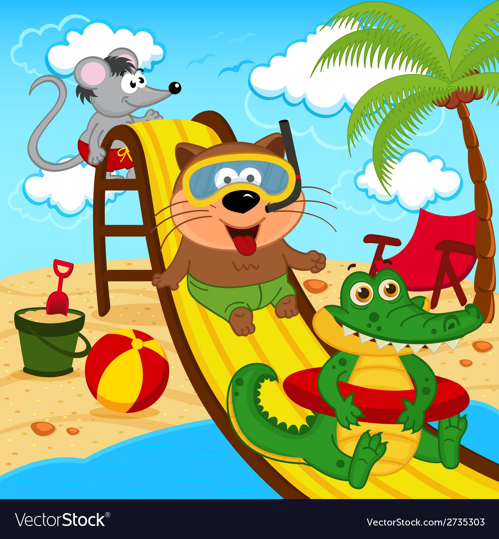 Animals in aqua park vector | Price: 1 Credit (USD $1)