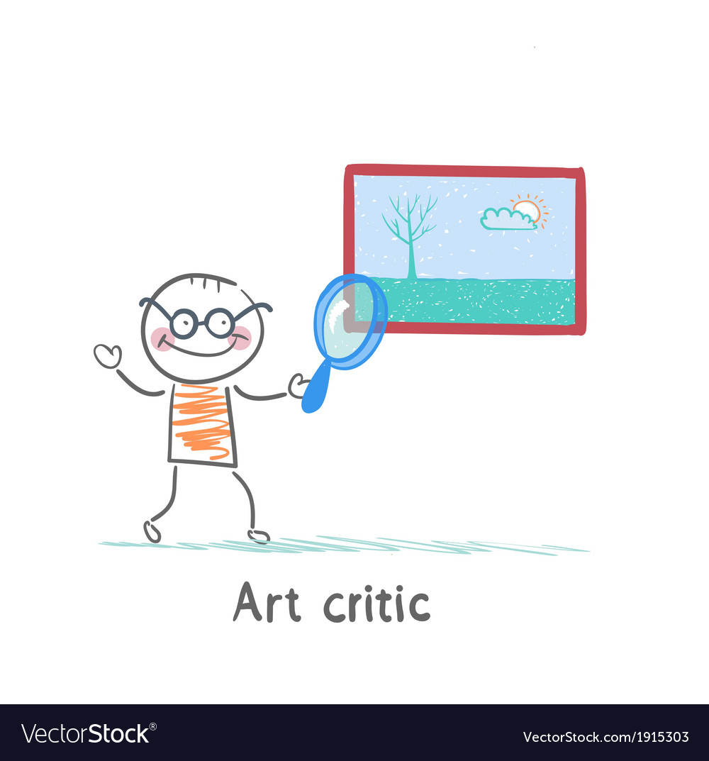 Art critic looks at the picture of a magnifying vector   Price: 1 Credit (USD $1)
