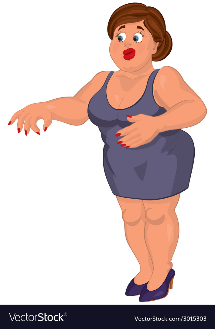 Cartoon young fat woman in gray dress disgusted vector | Price: 1 Credit (USD $1)