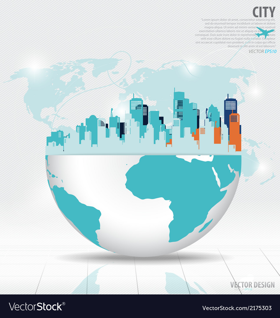 City with modern design globe vector | Price: 1 Credit (USD $1)